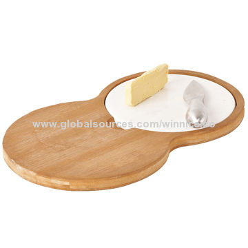 Bamboo cheese board with ceramic plate, high quality & eco-friendly feature