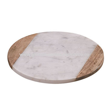 "Creamy White Marble with Mango Wood 12"" Round Board"